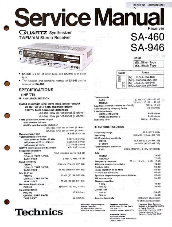 Technics SA-460 SA-946 Service Manual - Unix Samurai